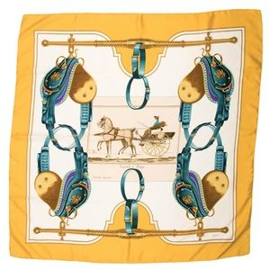 """HERMES Scarf 100% Silk """"Carrick a Pompe"""" Yellow"""